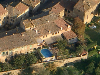 View of Villa Maddalena from the air in a balloon